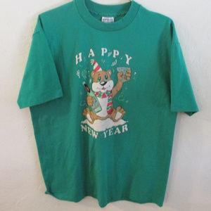 Vintage Single Stitch Green Happy New Year T-shirt